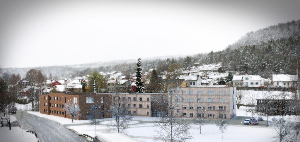 Dette er skissen av de planlagte studentboligene ved siden av Kongsberg Vandrerhjem. Studentboligene skal etter planen bygges samtidig med ny Vestsiden ungdomsskole. Skisse: DRMA og Enerhaugen Arkitektkontor