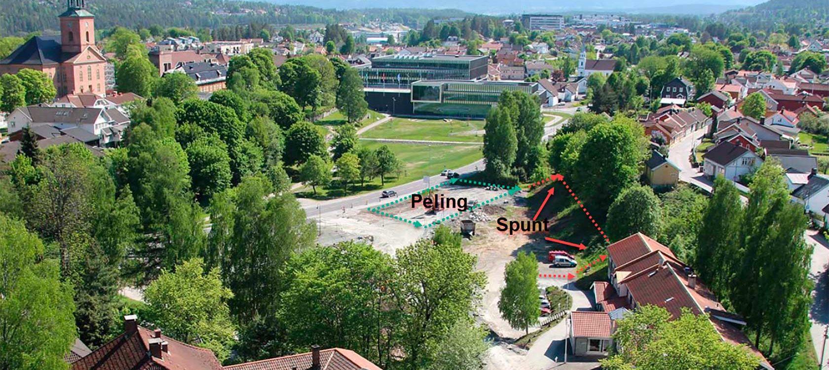 I dette bildet har vi markert hvor pelingen og spuntingen vil foregå.